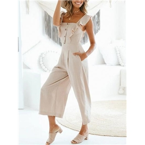 Beige Cotton Blend Button Placket Front Chic Women Romper Jumpsuit