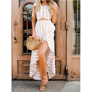 Pink Stripe Chiffon Chic Women Crop Cami Top And High Waist Maxi Skirt
