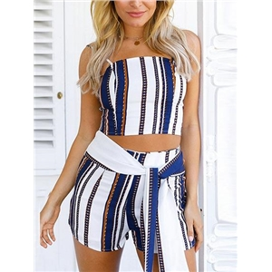 Womens Polychrome Slim Strap Crop Top And Shorts