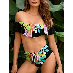 Black Nylon Off Shoulder Floral Print Chic Women Bikini Top And Bottom