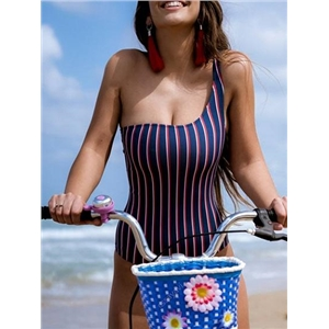 Blue Stripe Nylon One Shoulder Chic Women Swimsuit