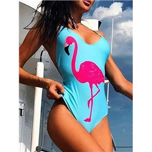 Blue Nylon Flamebird Print Open Back Chic Women Swimsuit