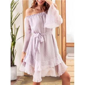 Purple Chiffon Off Shoulder Tie Waist Ruffle Hem Chic Women Mini Dress