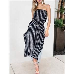 Dark Blue Bandeau Folk Print Drawstring Waist Chic Women Maxi Dress