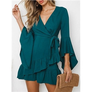 Green V-neck Tie Waist Ruffle Hem Flare Sleeve Chic Women Mini Dress