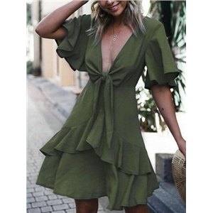 Army Green Plunge Tie Front Ruffle Trim Chic Women Mini Dress