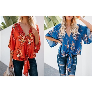 Chiffon V-neck Floral Print Flare Sleeve Chic Women Blouse