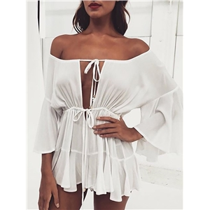 Off Shoulder Tie Front Flared Sleeve Casual Romper