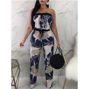 Tropical Print Strapless Drawstring Waist Jumpsuit