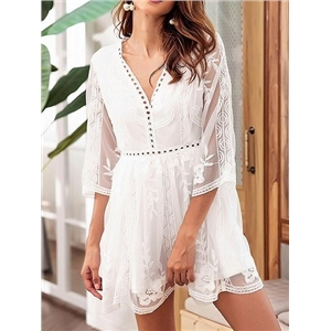 White V-neck Cut Out Detail Chic Women Lace Mini Dress