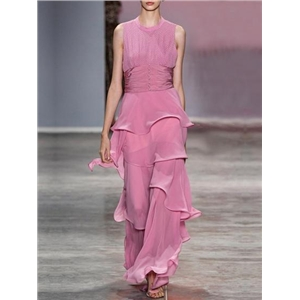 Pink Chiffon Halter Open Back Sleeveless Chic Women Maxi Dress
