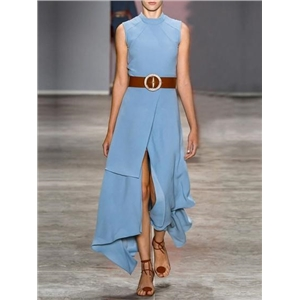 Blue Thigh Split Front Asymmetric Hem Sleeveless Chic Women Maxi Dress
