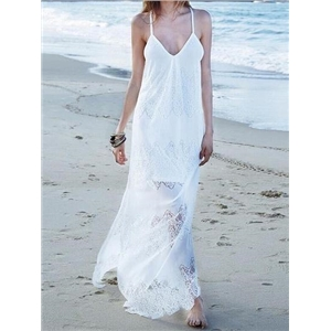 White V-neck Cut Out Detail Chic Women Lace Cami Maxi Dress