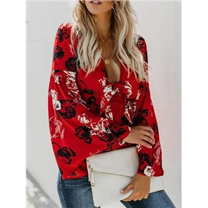 Red Plunge Floral Print Tie Front Flare Sleeve Chic Women Blouse