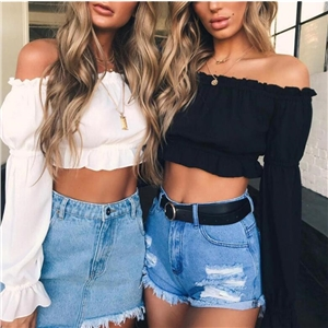 Sexy Slim Off The Shoulder Flare Sleeve Solid Chiffon Crop Top