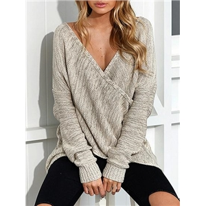 V-neck Wrap Front Long Sleeve Knit Sweater