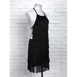 Solid Halter Tied Back Tassels Embellished Mini Dress