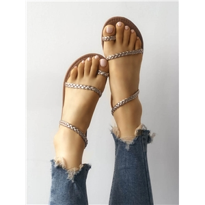 Solid Toe Ring Braided Strap Flat Sandals