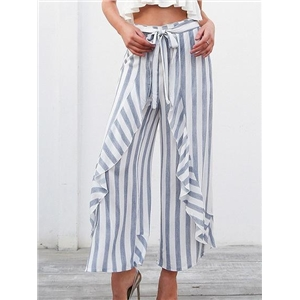 Stripe High Waist Thigh Split Side Chic Women Wide Leg Pants