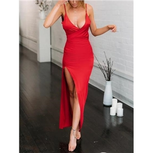 Red Plunge Open Back Sleeveless Chic Women Bodycon Maxi Dress