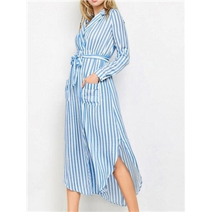 Blue Stripe Cotton V-neck Tie Waist Long Sleeve Chic Women Maxi Dress