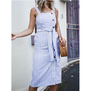 Blue Stripe Cotton Button Placket Front Tie Waist Chic Women Dress