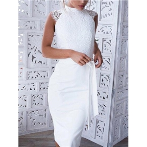 White Lace Panel Tie Waist Sleeveless Chic Women Bodycon Dress