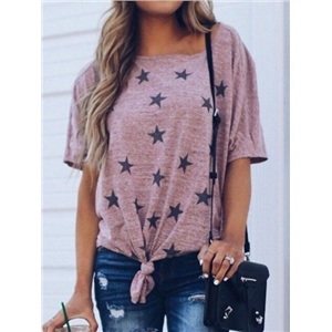 Pink Cotton Star Print Knot Front Batwing Sleeve Chic Women T-shirt