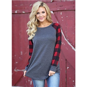 Round Neck Plaid Sleeve Pullover Tee Shirt