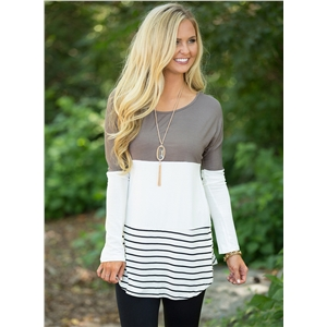 Fashion Long Sleeve Lace Panel Color Block Tee