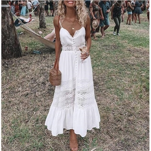 Lace Panel Button Up White Dress