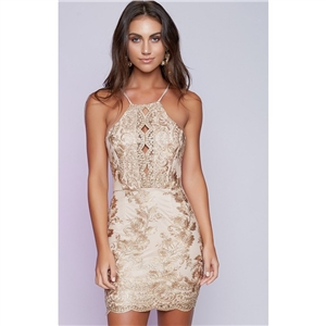 Golden Embroidered Lace Halter Cross Spaghetti Strap Mini Skinny Dress
