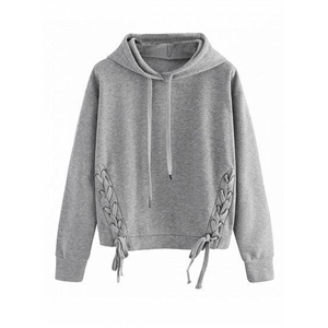 Grey hooded long sleeve lace-up sweater