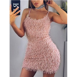 Pink fringed women's mini strap dress