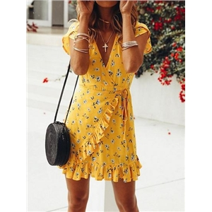 Yellow Cotton Blend V-neck Floral Print Chic Women Mini Dress