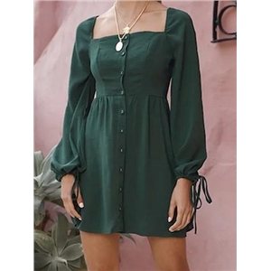 Green Cotton Button Placket Front Long Sleeve Chic Women Mini Dress