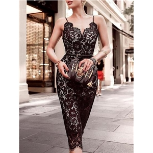 Black V-neck Chic Women Lace Bodycon Cami Midi Dress