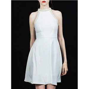 White Halter Beaded Embellished Sleeveless Chic Women Mini Dress