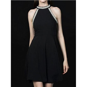 Black Halter Beaded Embellished Sleeveless Chic Women Mini Dress