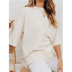 Beige Cotton Split Side Dipped Hem Chic Women T-shirt