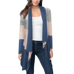 Blue Color Block Stripe Open Front Drape Cardigan
