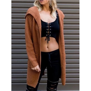 Brown Pocket Lace Up Back Long Sleeve Hooded Knit Cardigan