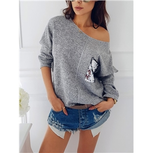 Fashion sequin stitching bat sleeve sweater long sleeve bottoming shirt