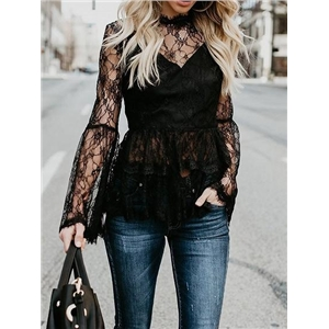 Black Flare Sleeve Chic Women Lace Blouse