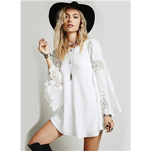 Autumn Fashion Lace Splicing Loose Long-sleeved A-line Dress