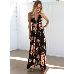 Deep V Neck Floral Print Maxi Dress