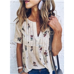 Casual V-Neck Loose Fit Floral Printed Tee Shirt