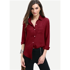 Solid Button down Chiffon Shirt with Chest Pocket