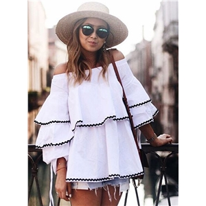 Off the Shoulder Long Sleeve Ruffle Blouse