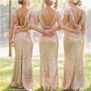 Quality Shinning Backless Sequined Long Party Bridesmaid Dress